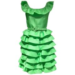 80s Oscar De La Renta Lime Green organza ruffle cocktail dress