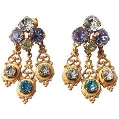 Triple drop earrings, att. Christian Dior ,early 1950s