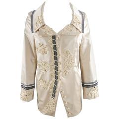 Christian Lacroix 1998 Ivory Silk Antique Soutache Jacket