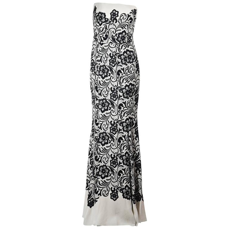 White & Black Dolce & Gabbana Floral Lace Gown 1