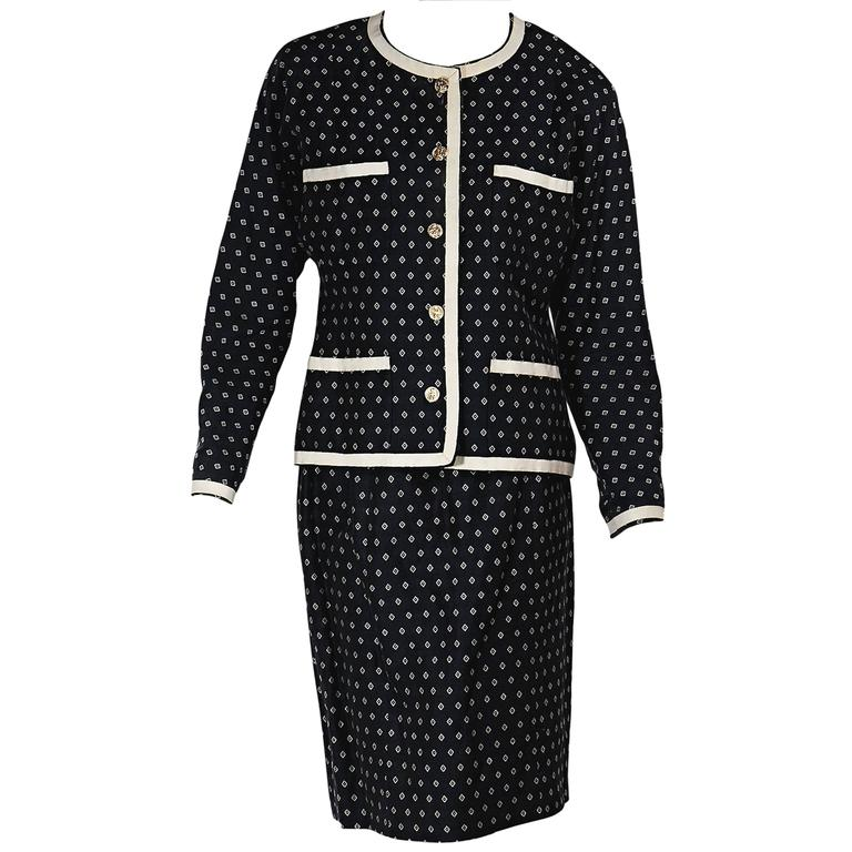 Navy & White Vintage Chanel Skirt Suit 1