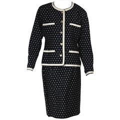 Navy & White Vintage Chanel Skirt Suit