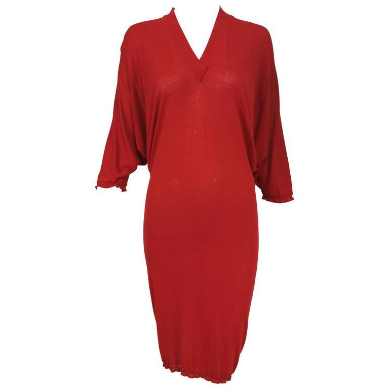 Jean Paul Gaultier fine red knit bat wing pull on dress