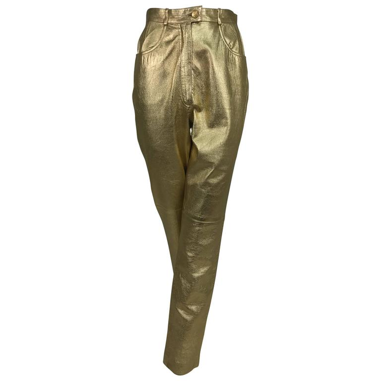 Vintage Ferragamo soft gold leather jeans style trousers 1980s