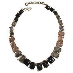 Goossens Paris Hand Tinted Single Row Rock Crystal Necklace