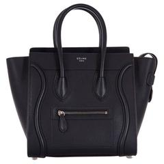 New Celine Bag Black Micro Luggage Drummed Calfskin