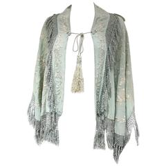 1920s Silk embroidered minty green shawl capelet