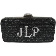 Judith Leiber Black JLP Black Silver Minaudiere Clutch Double sided New 2300.00