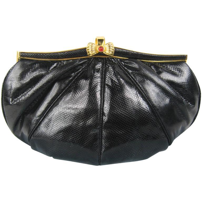 Judith Leiber Vintage Black karung Snake skin clutch Cabochon Closure Never used