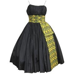 Vintage 1950s Black Embroidered Shelf Bust Taffeta Party Dress
