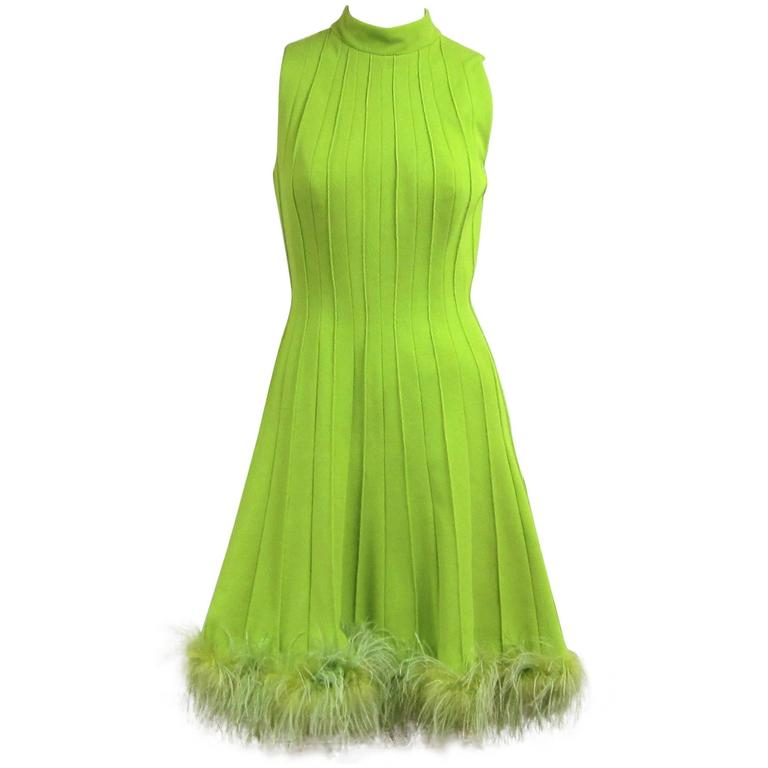 Vintage 1960s Green Knit Ostrich Feather Dress