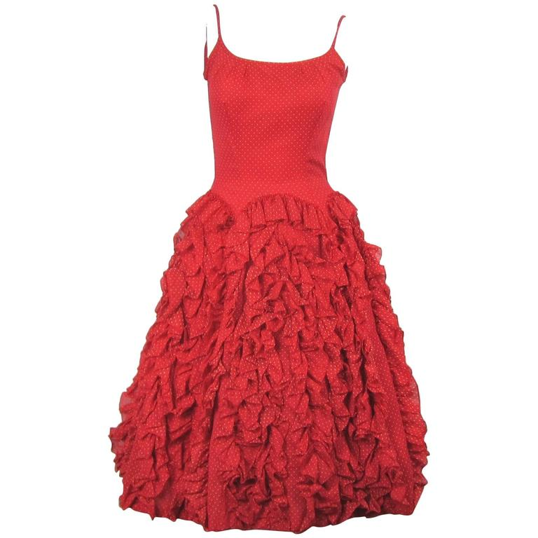 Vintage 1950s Red Ruffled Flamingo Spectacular Dancer Party Dress