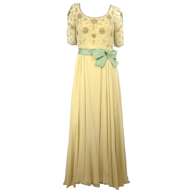 Vintage 1960s Malcolm Starr Flowing Beaded Gown Dress