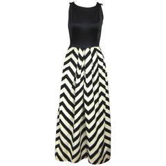 Vintage 1970s Oleg Cassini Black & White Chevron Maxi dress