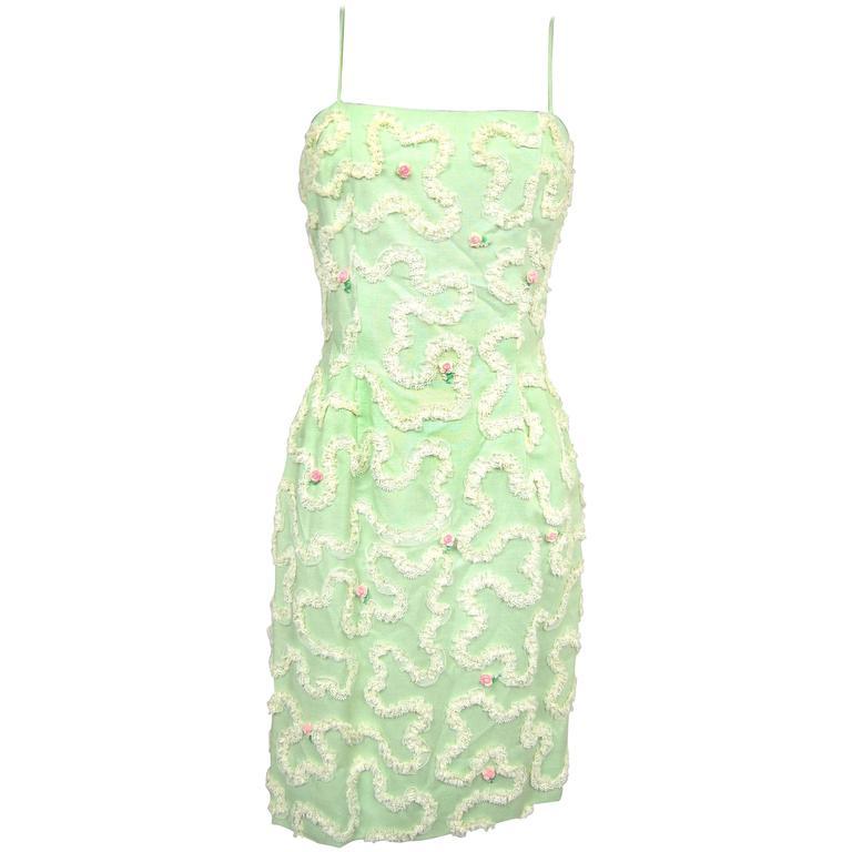 Vintage 1960s Green Floral Soutache Wiggle Dress