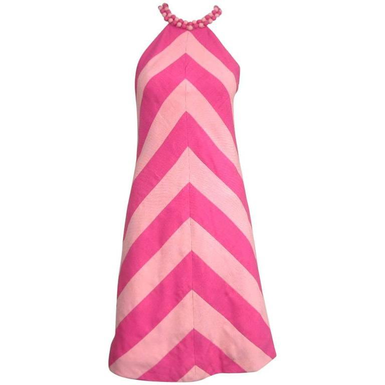 Vintage 1960s Chevron Bubble gum PINK Stripe Dress 1