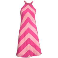 Vintage 1960s Chevron Bubble gum PINK Stripe Dress