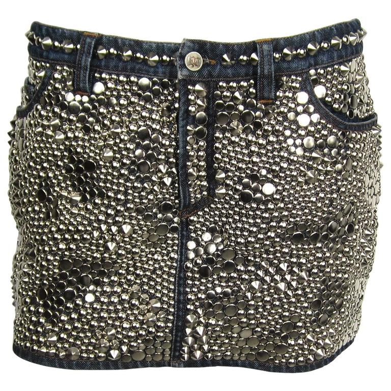 Stunning 1990s Gianni Versace Studded  Denim Mini Skirt  For Sale