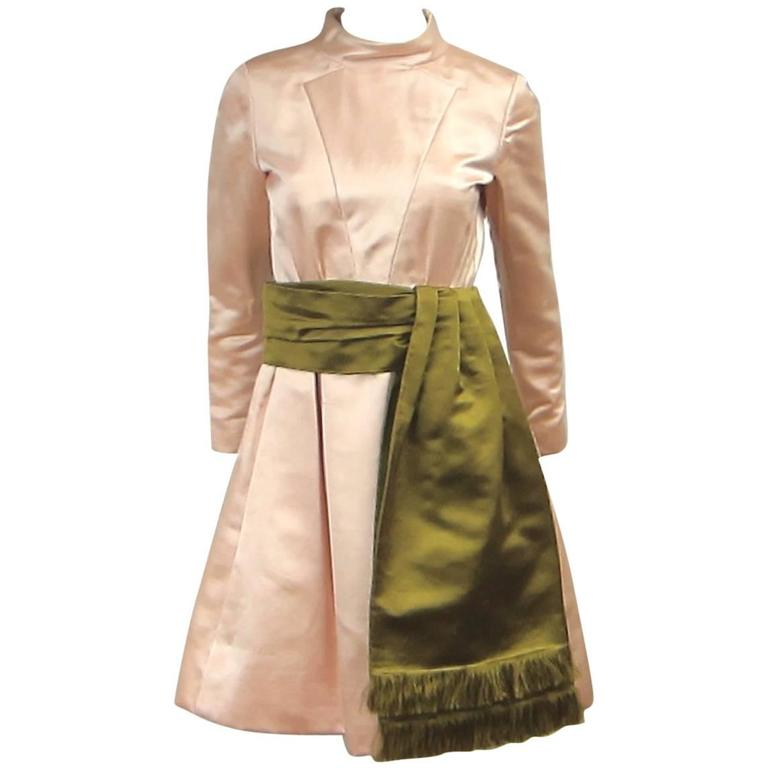 VIntage 1960s Teal Trania Silk Dupioni  Dress Never Worn
