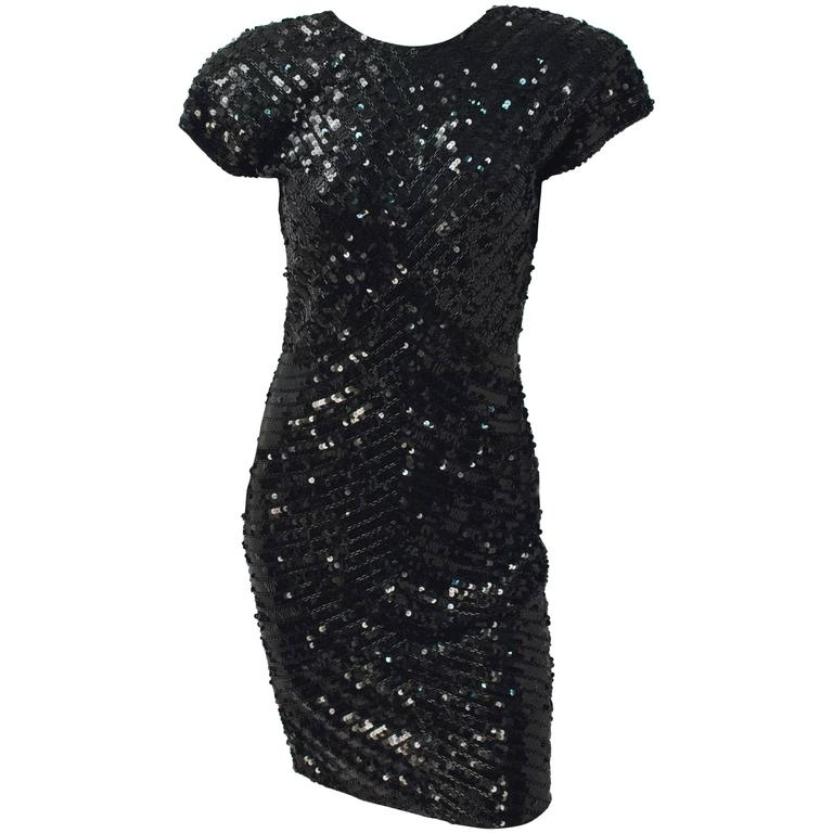 80s Tadashi Black Sequin Dress