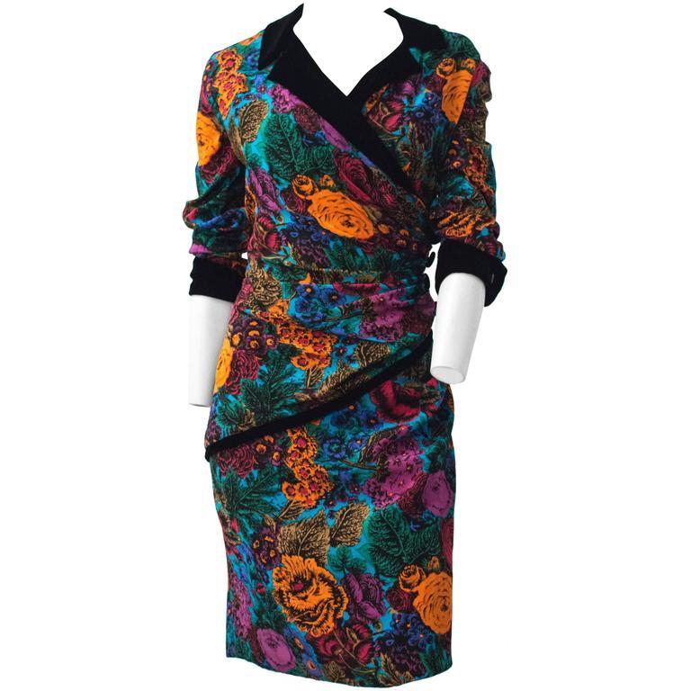 80s Oscar de La Renta Bouquet Dress with Black Velvet Trim