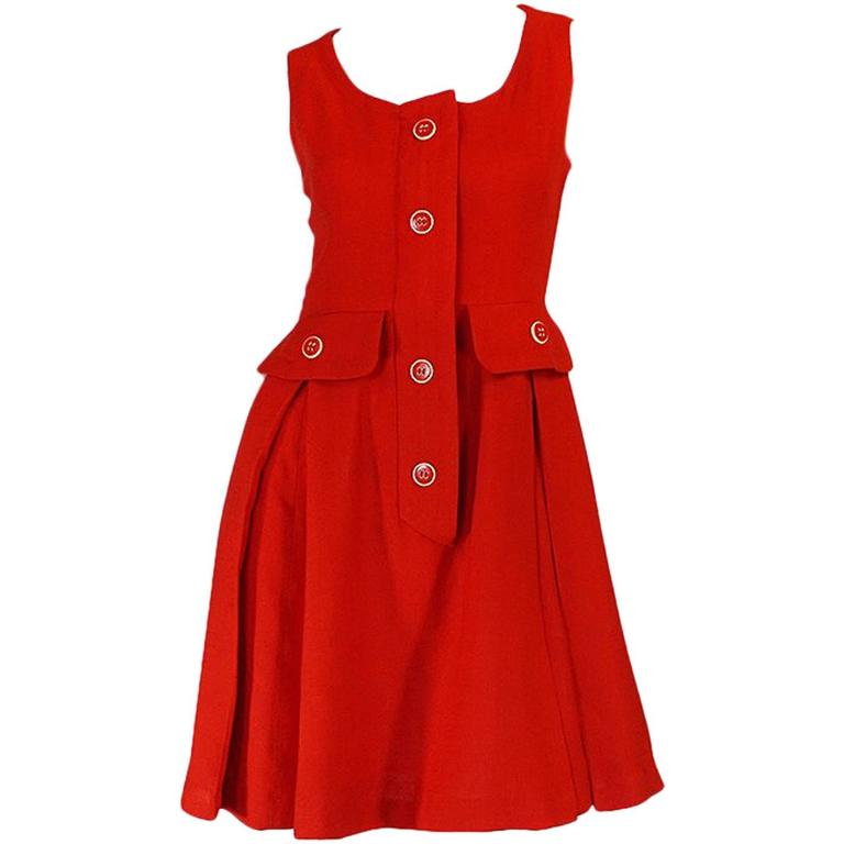 1960s Geoffrey Beene Boutique Red Linen Dress For Sale