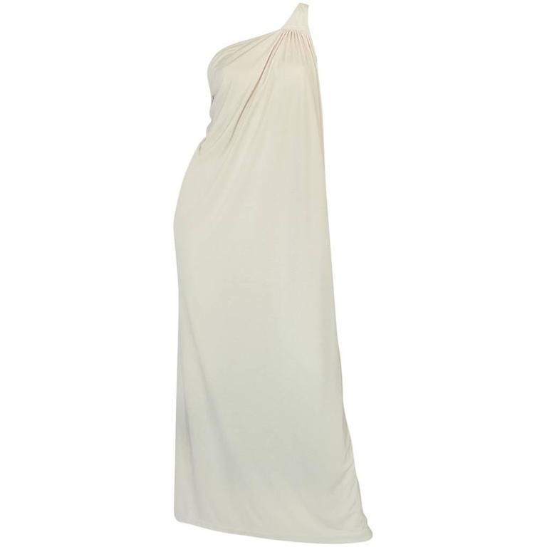 1970s Yuki One Shoulder Draped Cream Jersey Dress