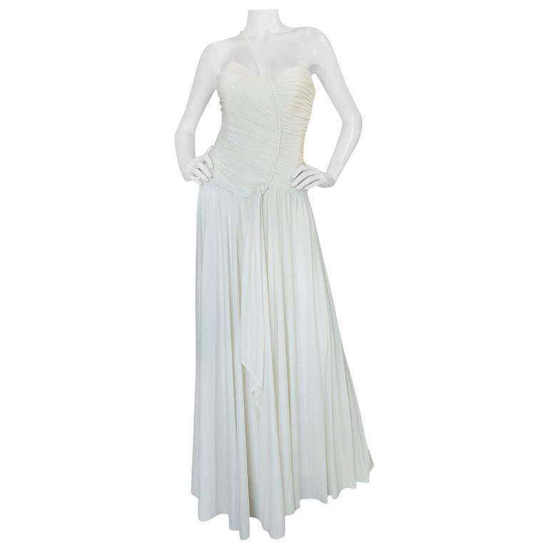 1970s Frank Usher Draped Single Strap White Jersey Dress