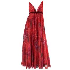 1960s Travilla Plunging Sequin Covered Couture Silk Dress