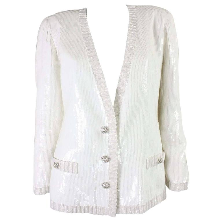 1980's Bill Blass White Sequined Jacket For Sale