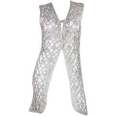 1960's Space Age Metallic Silver Long Vest