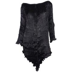 Patricia Lester Pleated Silk Tunic with Beaded Neckline
