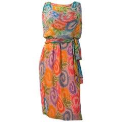 60s Painterly Swirl Floral Silk Chiffon Blouson Dress