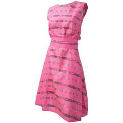 60s Fuchsia Pink Dress with Obi Belt
