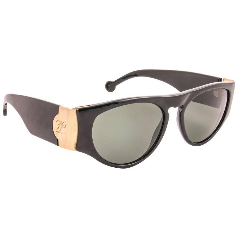 New Vintage Karl Lagerfeld L3606 Black Grey Lens 1990 Germany Sunglasses