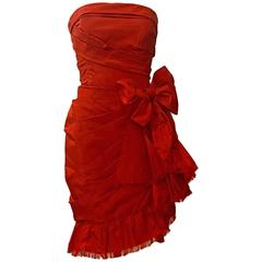 Oscar de la Renta Red Silk Strapless Bow Cocktail Dress, 2011