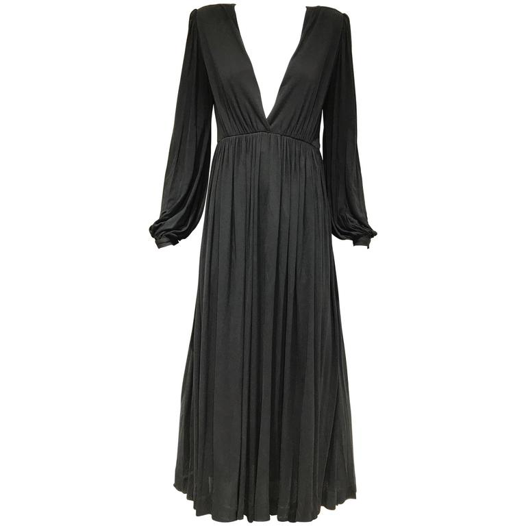 1970s Yves Saint Laurent black jersey V neck dress 1