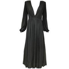 1970s Yves Saint Laurent black jersey V neck dress