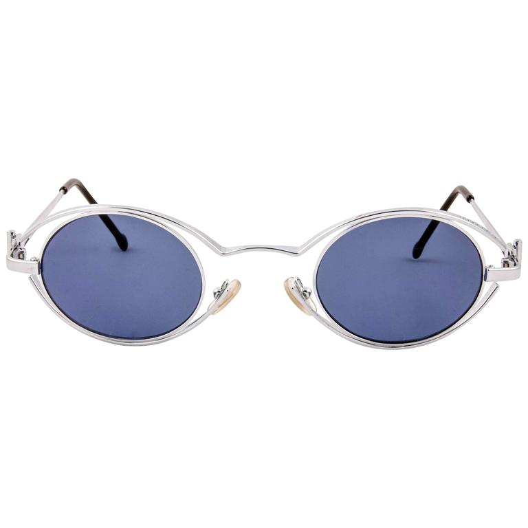 6961ca4f58 New Vintage Karl Lagerfeld 4123 04 Oval Silver 1990 France Sunglasses For  Sale