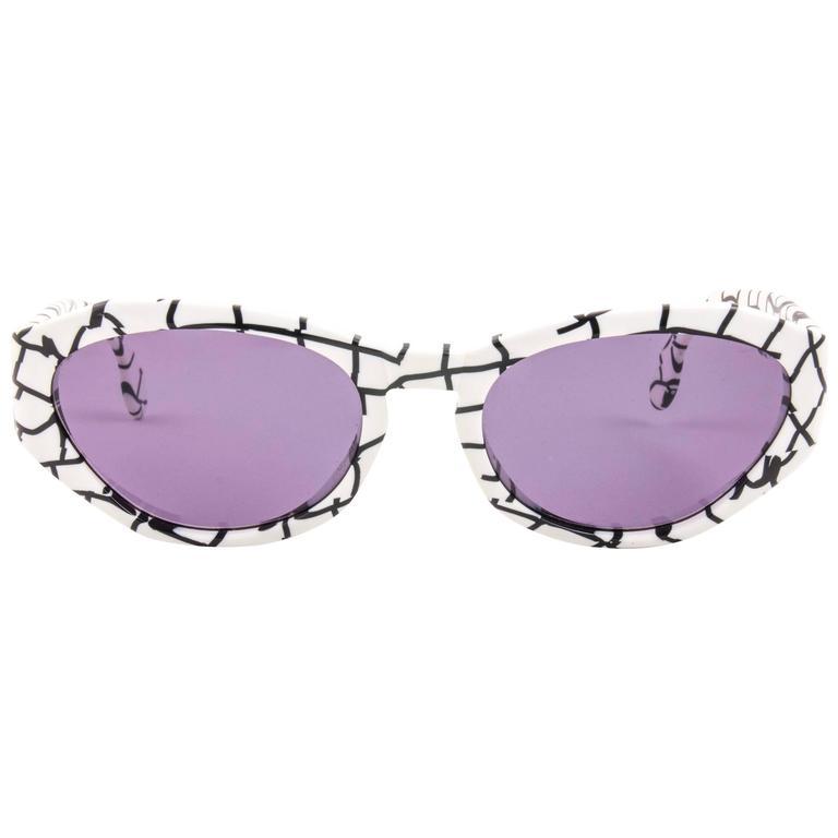 New Vintage Karl Lagerfeld 3601 White & Black 1990 France Sunglasses