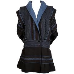 1983 ISSEY MIYAKE black and blue 'SAMURAI' woven wool coat