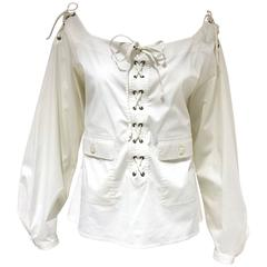 Yves Saint Laurent by Tom Ford white cotton lace up blouse
