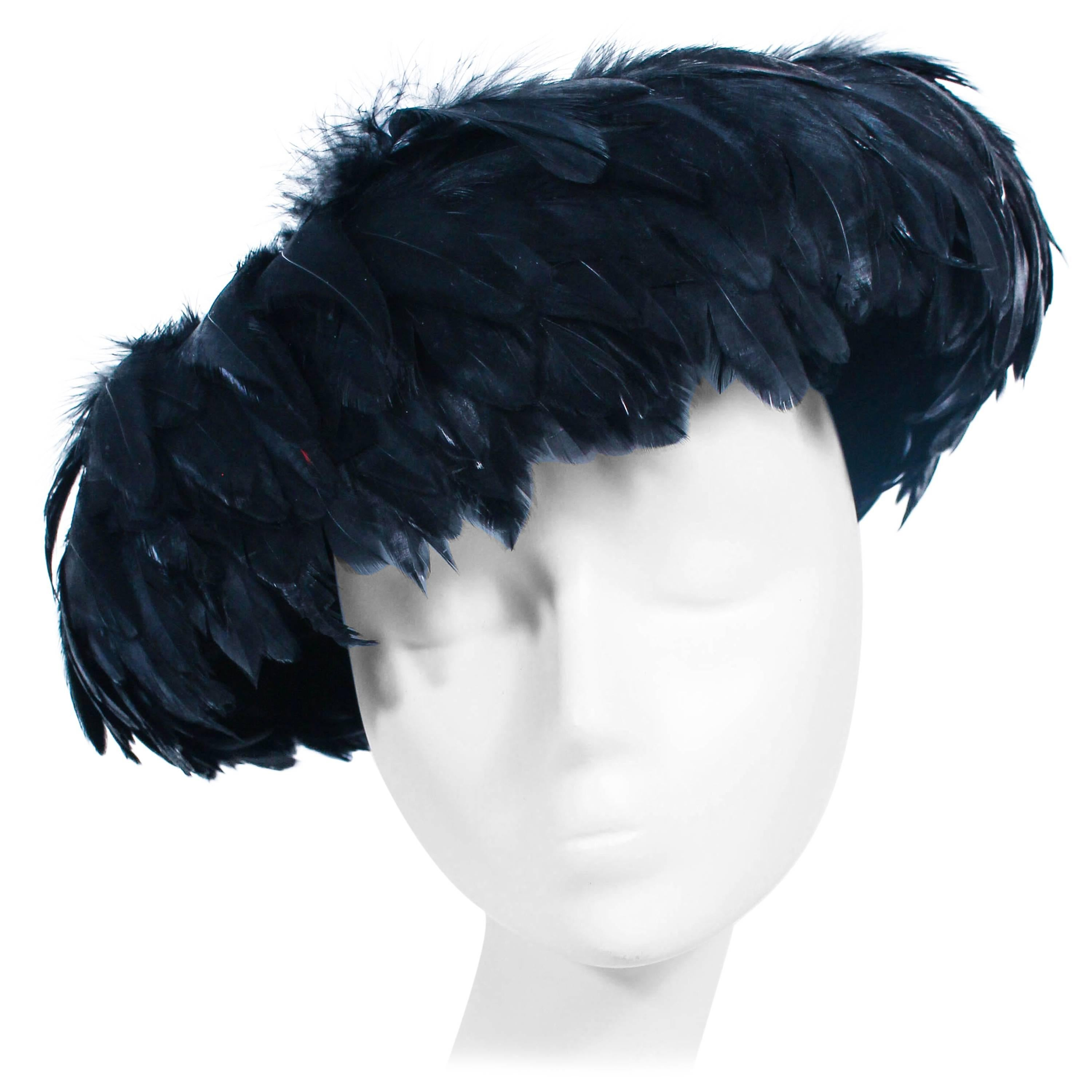 CHRISTINE Vintage 1950's Black Dyed Goose Feather and Sheared Beaver Hat