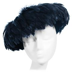 CHRISTINE Vintage 1950's Black Feather and Mohair Hat