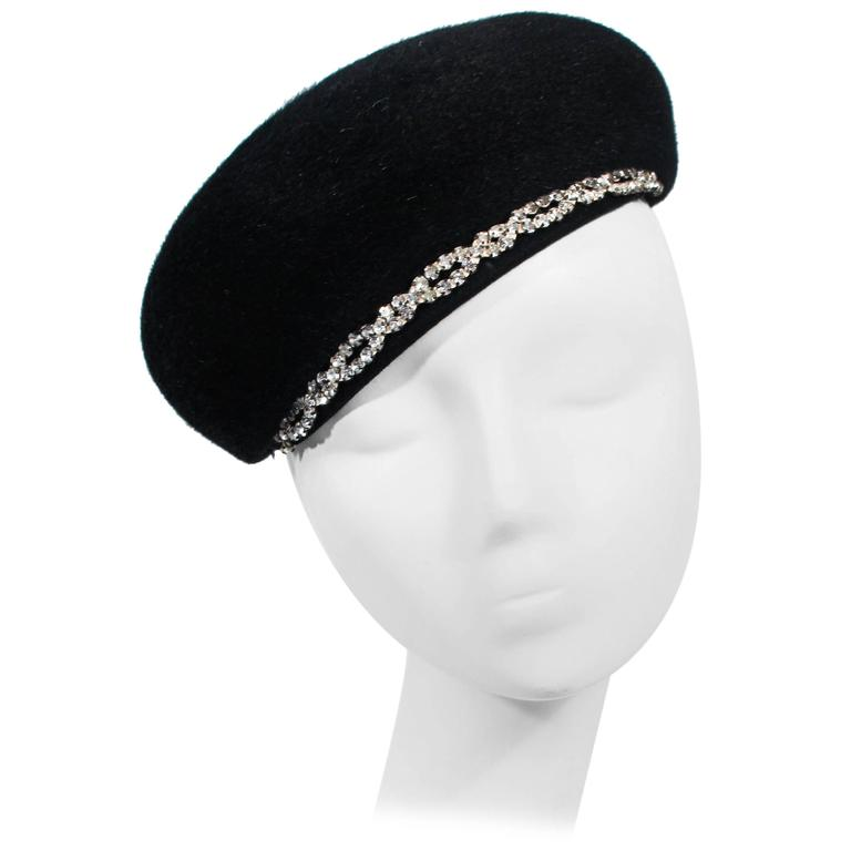 SCHIAPARELLI FRANCE Black 1960's Baret With Rhinestone Trim