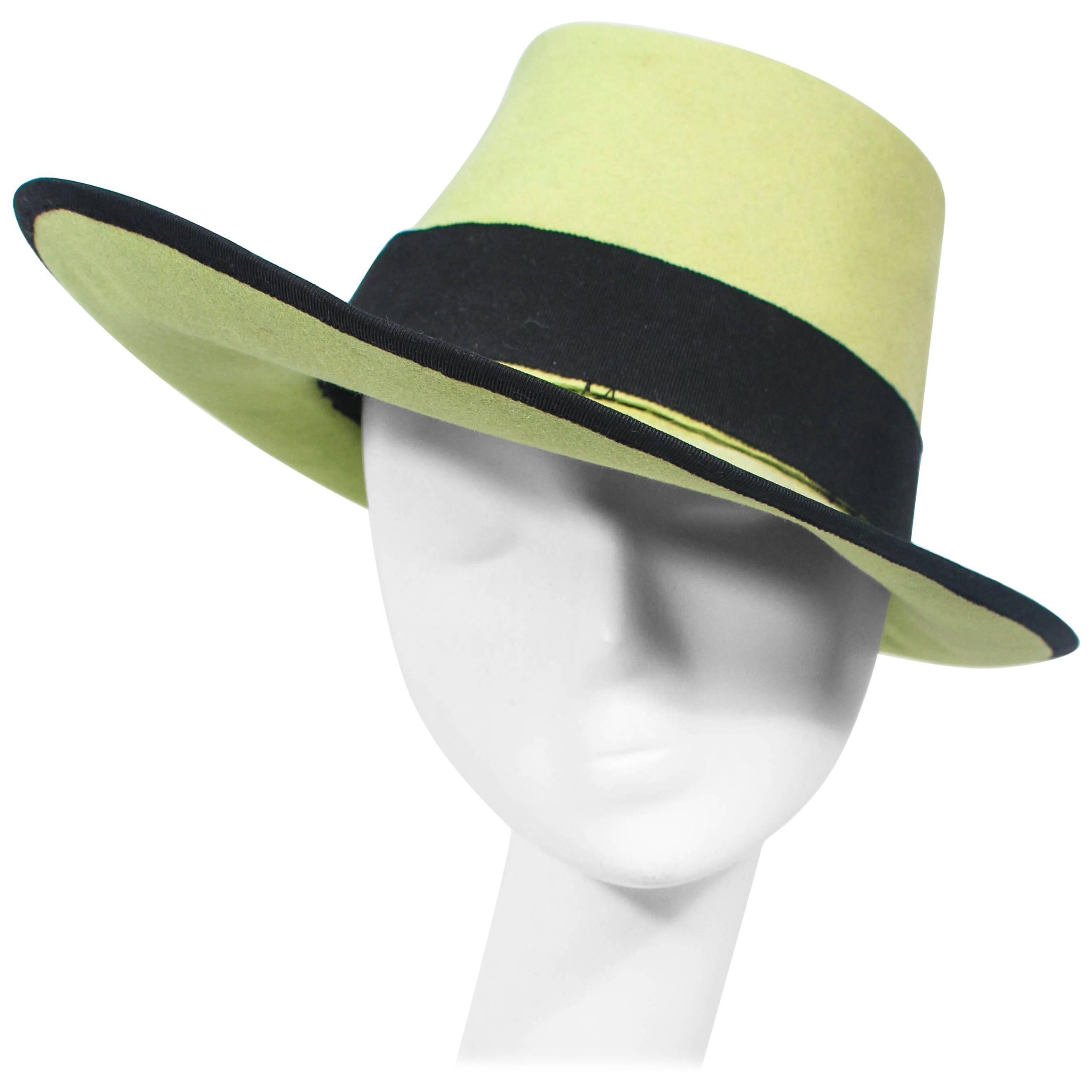 YVES SAINT LAURENT Rive Gauche Runway Abstract Green Top Hat