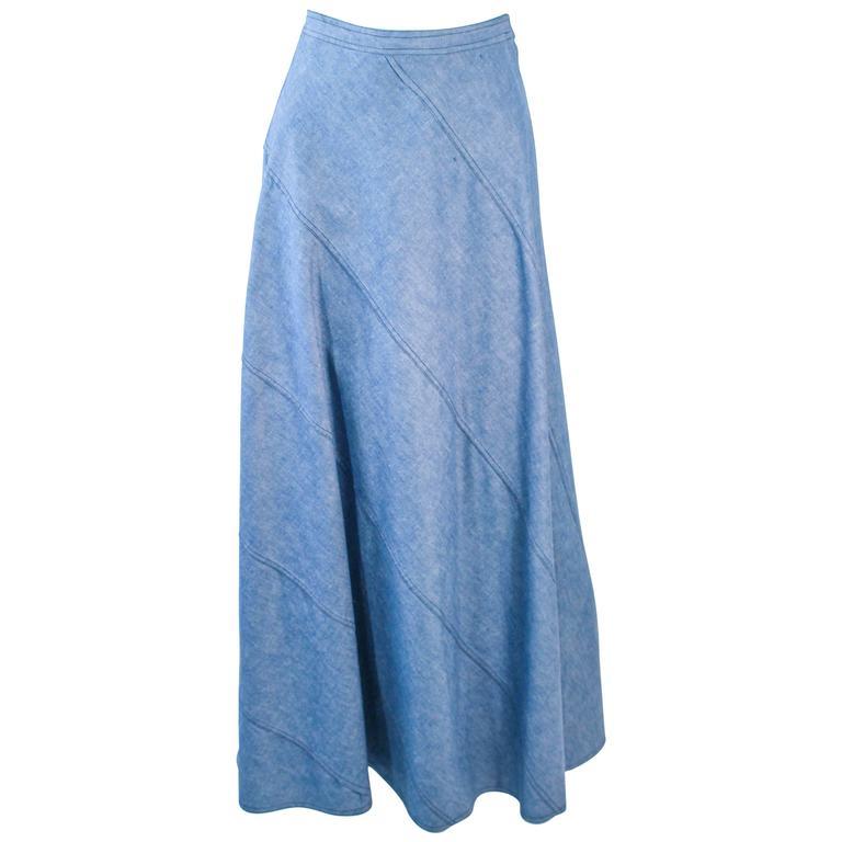 OSCAR DE LA RENTA Vintage 70's Diagonal Denim Maxi Skirt 2 4