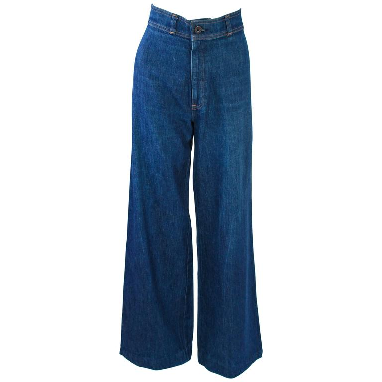 LEVI'S 70's Vintage High Waist Wide Leg Stone Washed Denim Jeans Size 25 For Sale