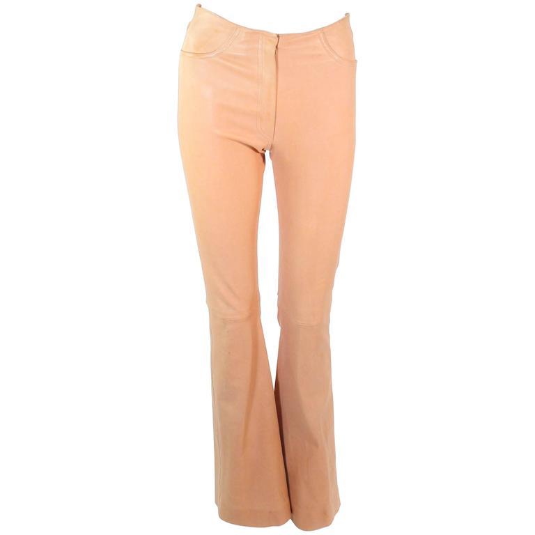 JEAN CLAUDE JITROIS Vintage Stretch Nude Leather Pants Size 0 2 38