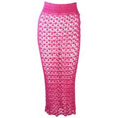 DOLCE & GABBANA Magenta Pink Sheer Crotchet Skirt Size Large
